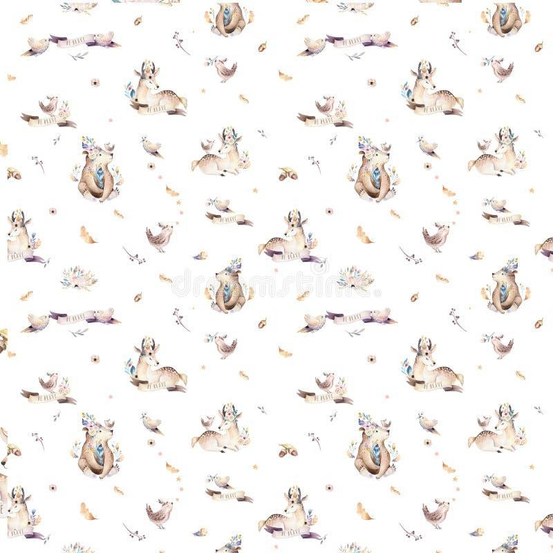 Dzieci zwierząt pepiniera odizolowywał bezszwowego wzór z bannies Akwareli boho dziecka śliczny lis, jeleni zwierzęcy lasu królik zdjęcia royalty free