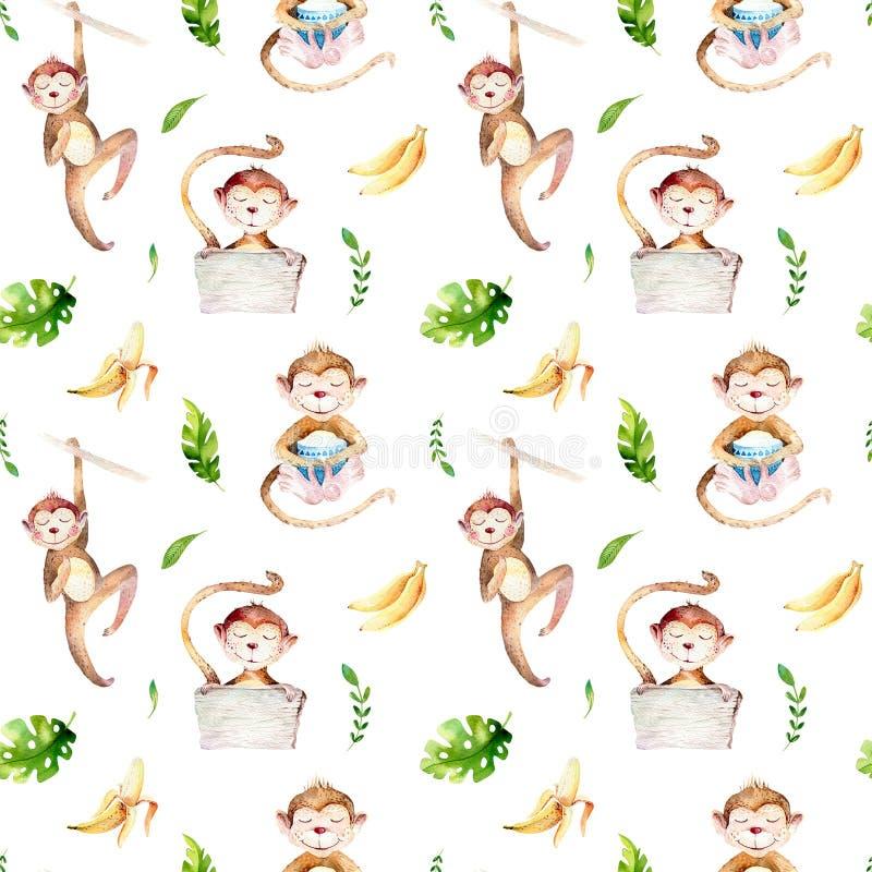 Dzieci zwierząt pepiniery odosobniony bezszwowy wzór Akwareli boho tropikalny rysunek, dziecko tropikalna rysunkowa śliczna małpa ilustracja wektor
