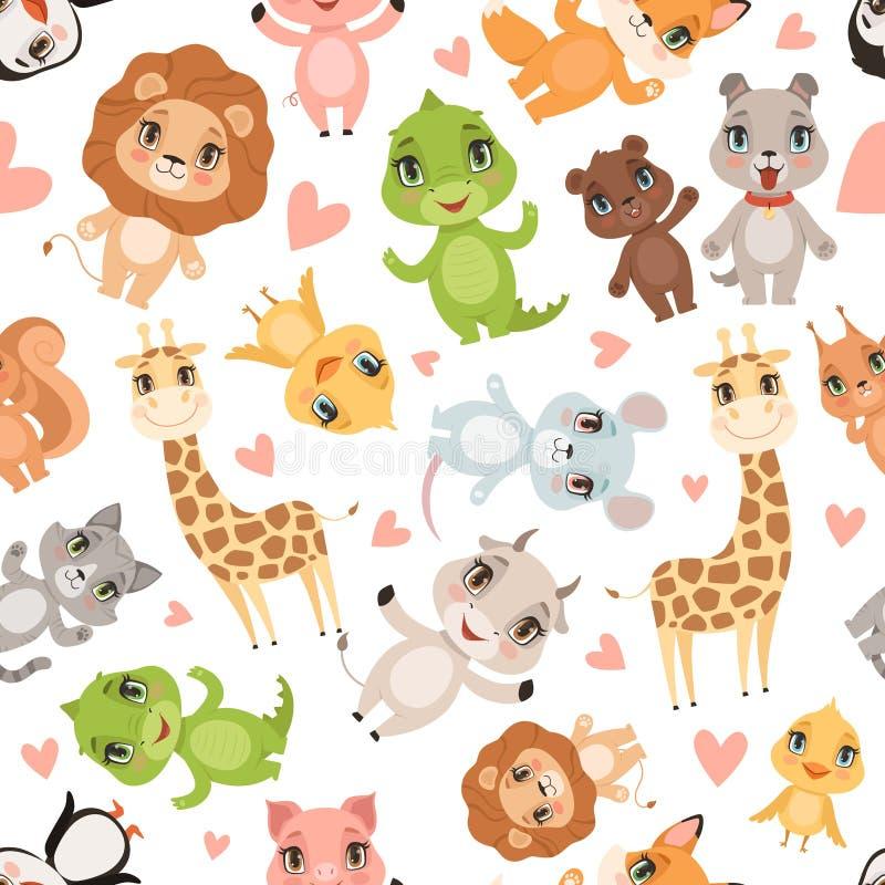 Dzieci zwierząt wzór Tkanina drukował bezszwowego safari dzikich zwierząt krokodyla żyrafy lwa kreskówki wektorowego tło royalty ilustracja