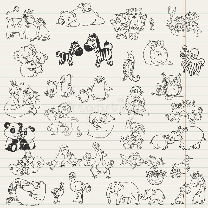 Dzieci zwierzęta z mamami ilustracji