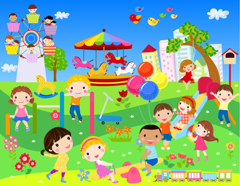 Dzieciaków bawić się royalty ilustracja