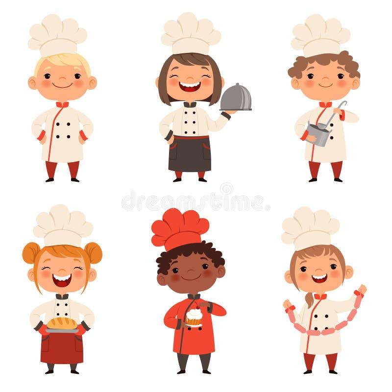 Dzieciaków charaktery przygotowywają jedzenie ilustracja wektor