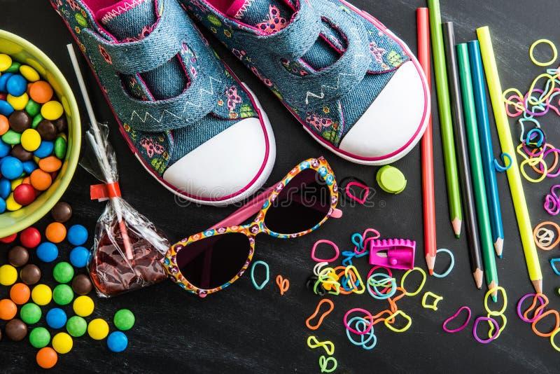 Dzieciaków cukierki i materiał obrazy royalty free