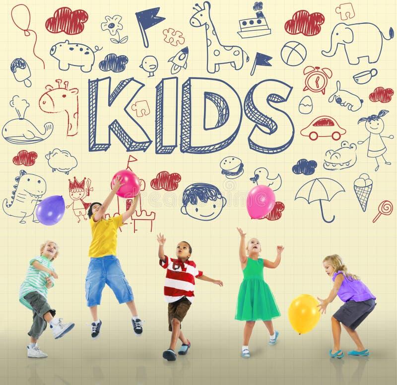 Dzieciaków dzieci radości dziecka Szczęśliwy pojęcie royalty ilustracja
