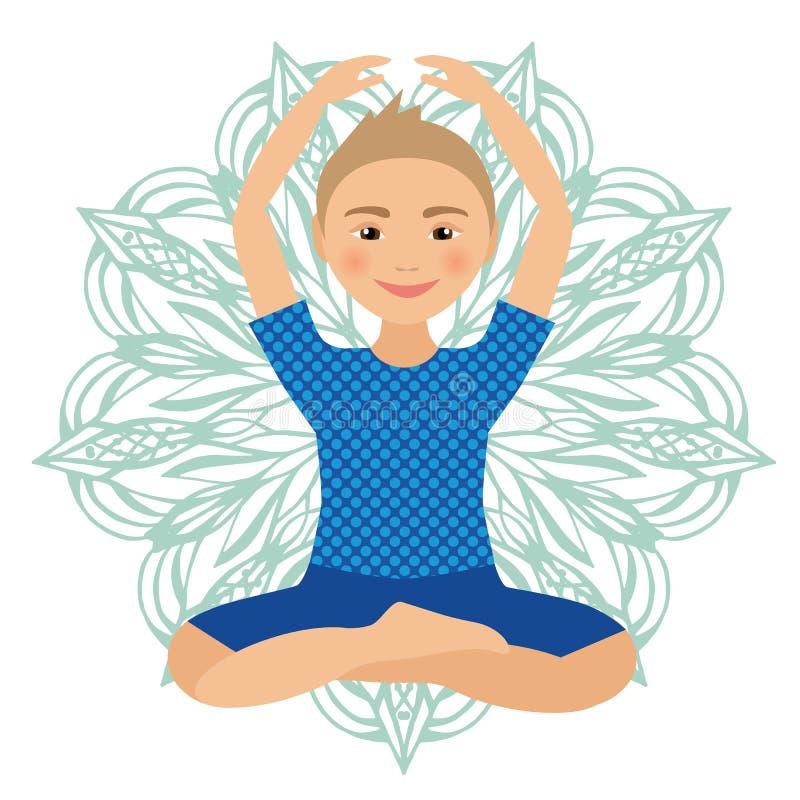 Dzieciaków joga pozy wektoru ilustracja Dziecko robi ćwiczeniom Postura dla dzieciaka Zdrowy dziecko styl życia Dziecko gimnastyk zdjęcia royalty free