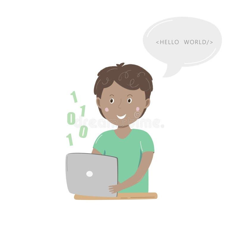 Dzieciaków kodować Szczęśliwy chłopiec obsiadanie przy jego uczenie cyfrowaniem z jego pastylką i biurkiem również zwrócić corel  ilustracji