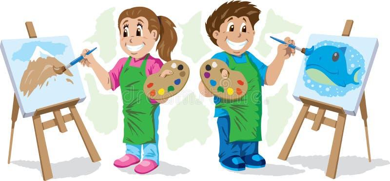 Dzieciaków malować ilustracja wektor