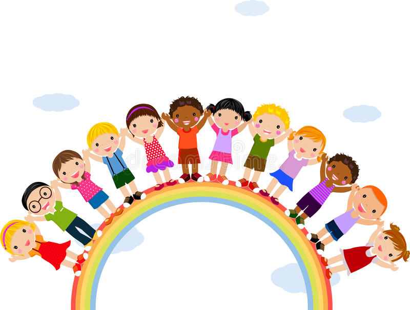 dzieciaków tęczy pozyci wierzchołek royalty ilustracja