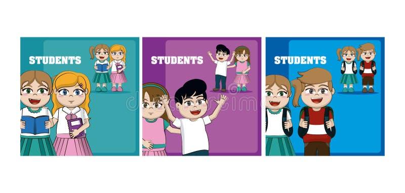 Dzieciaków uczni kreskówek karty ilustracji