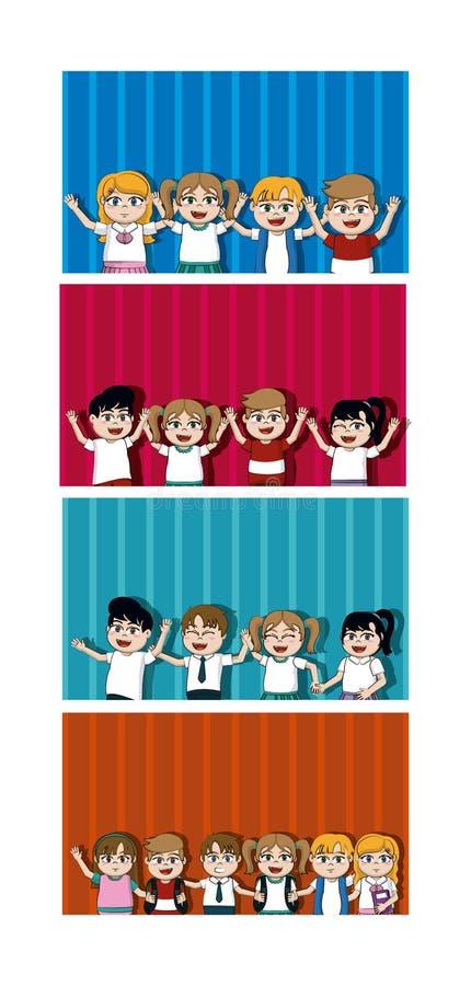 Dzieciaków uczni kreskówek karty royalty ilustracja