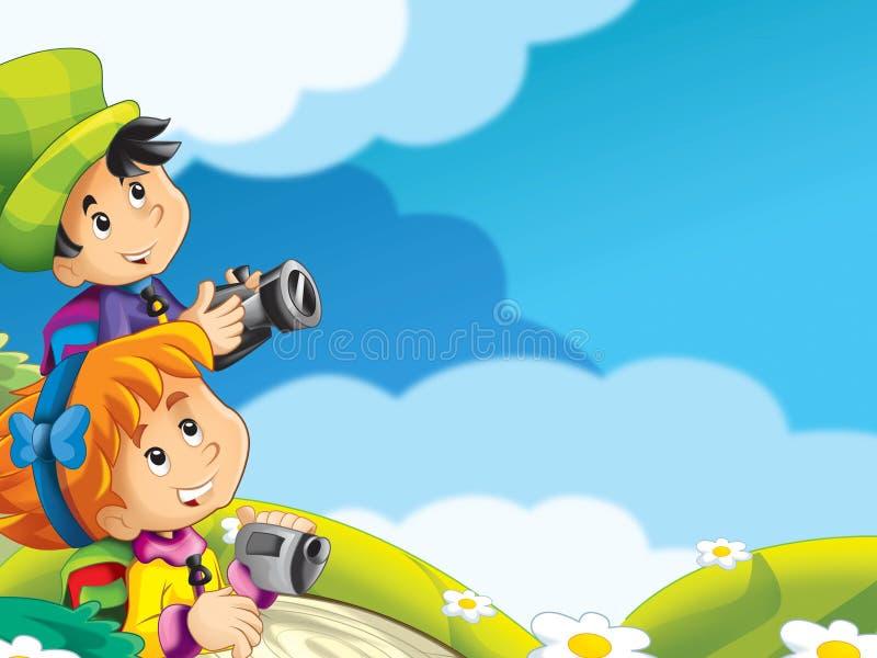 Download Dzieciaków zwiedzać ilustracji. Ilustracja złożonej z chłopiec - 28974780