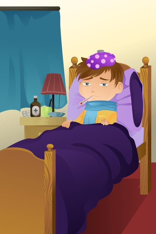 dzieciak łóżkowa choroba ilustracji