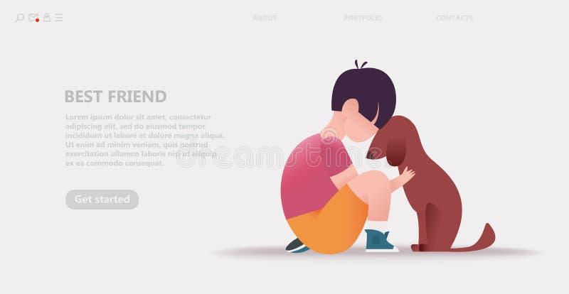 Dzieciak ściska psa Uściśnięcia z zwierzętami ilustracja wektor