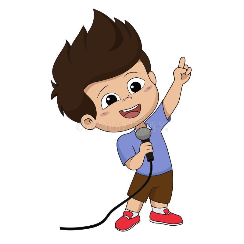 Dzieciak śpiewa piosenkę Wektor i ilustracja ilustracja wektor