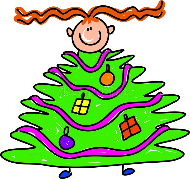 dzieciak świątecznej drzewo royalty ilustracja