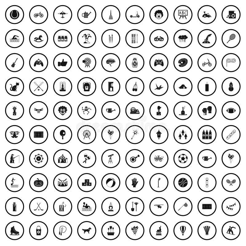 100 dzieciak aktywności ikon ustawiających, prosty styl ilustracji