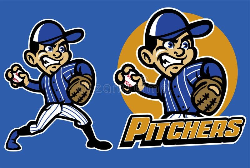 Dzieciak bawić się baseballa jako miotacz ilustracji