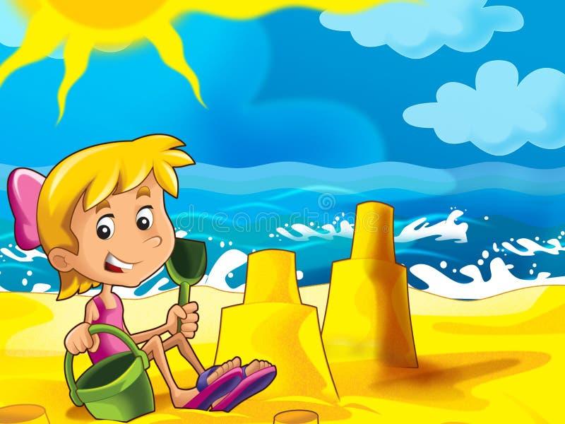 Download Dzieciak Bawić Się Na Plaży Ilustracji - Ilustracja złożonej z kasztel, grafika: 28974612