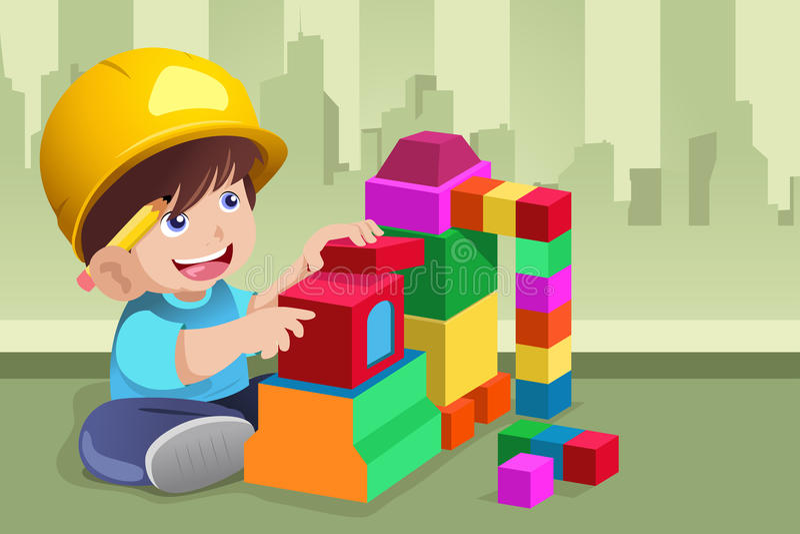 Dzieciak bawić się z jego zabawkami royalty ilustracja