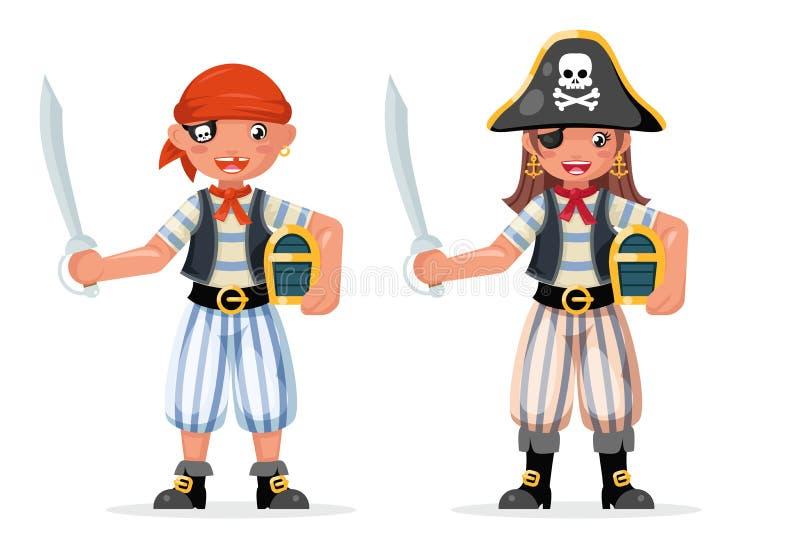Dzieciak chłopiec dziewczyny pirata przygody przyjęcia żeglarza dziecka kostiumu capitan maskarady skarbu klatki piersiowej chara ilustracja wektor