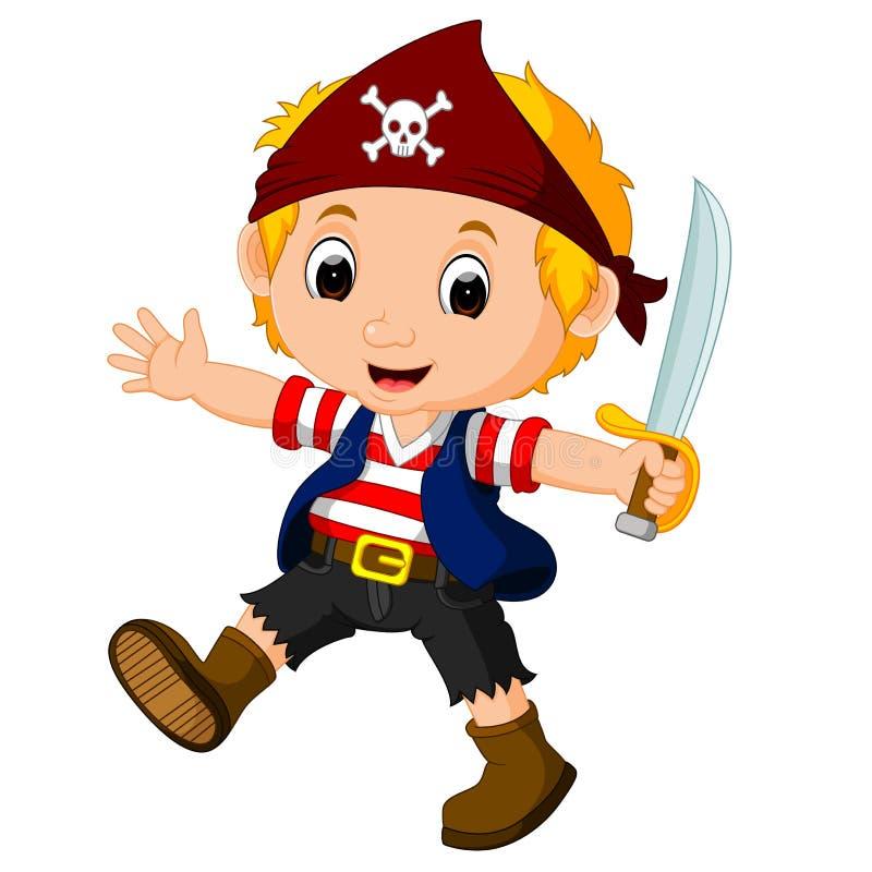 Dzieci Na Pirata Statku I Ocean Scenie Ilustracja Wektor ...