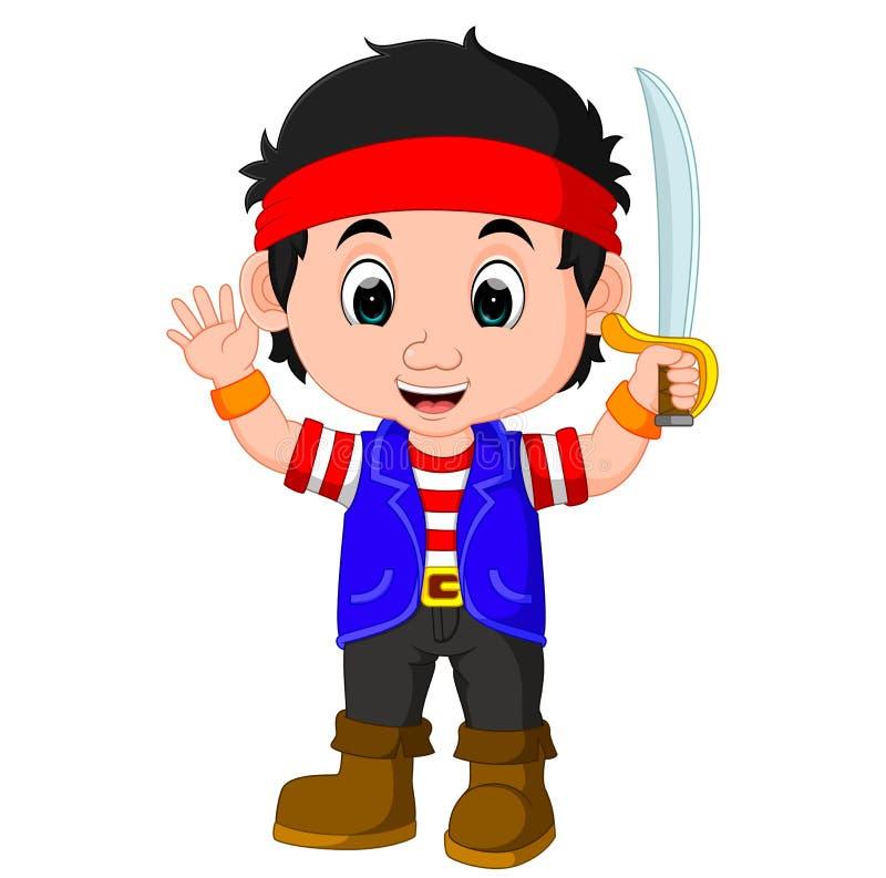 Dzieciak chłopiec pirata kreskówka ilustracja wektor