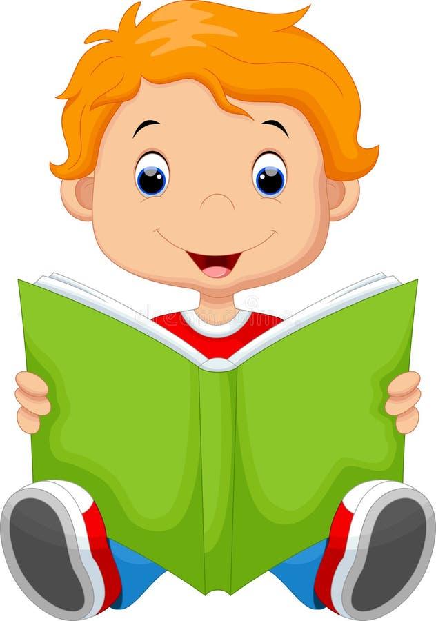 Dzieciak czyta książkę royalty ilustracja