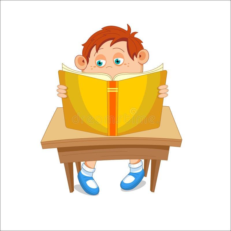 Dzieciak, czytający otwartą książkę, siedzi przy stołem, wektorowy illustratio obrazy stock