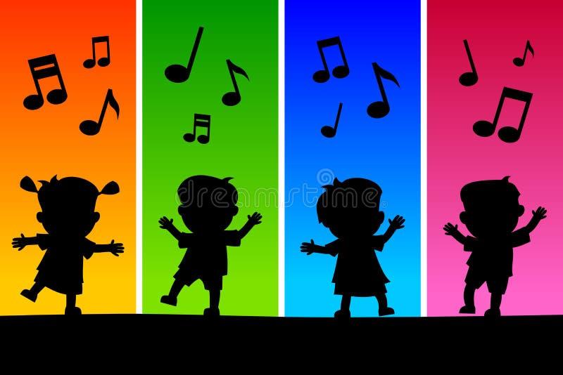 dzieciak dancingowe sylwetki ilustracja wektor