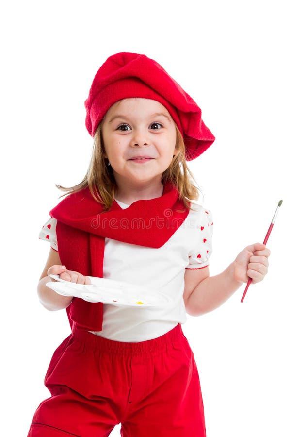Dzieciak dziewczyna w artysty kostiumu odizolowywającym obraz royalty free