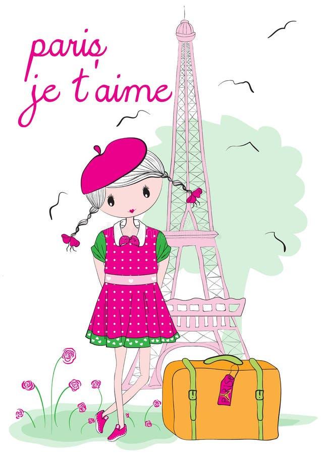 Dzieciak dziewczyna w Paryż royalty ilustracja