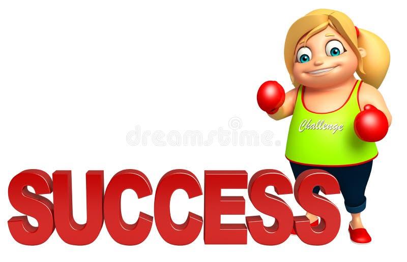 Dzieciak dziewczyna z sukcesem & Bokserskimi rękawiczkami royalty ilustracja