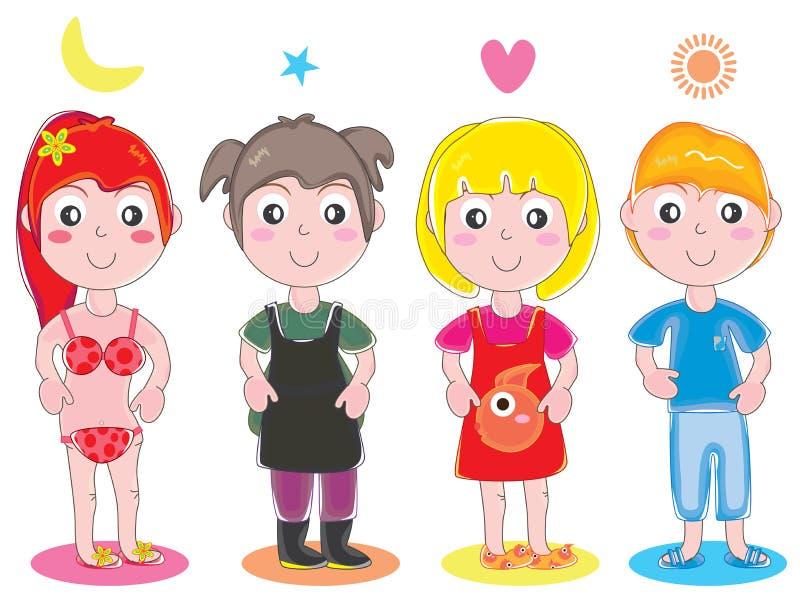 Dzieciak dziewczyny Śliczny set ilustracji