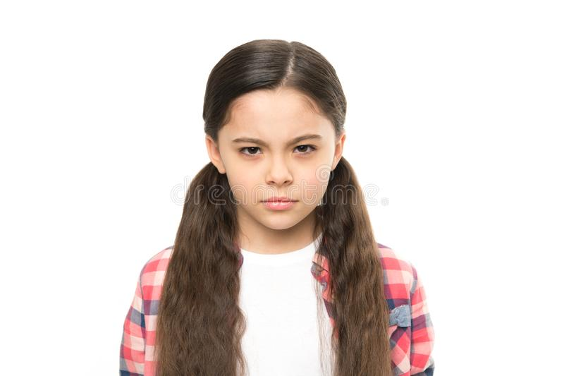 Dzieciak dziewczyny podejrzany ty Brutalna zemsta Nieszczęśliwego dziecka nienawistny spojrzenie Someone zasługuje kary zemstę ut fotografia stock