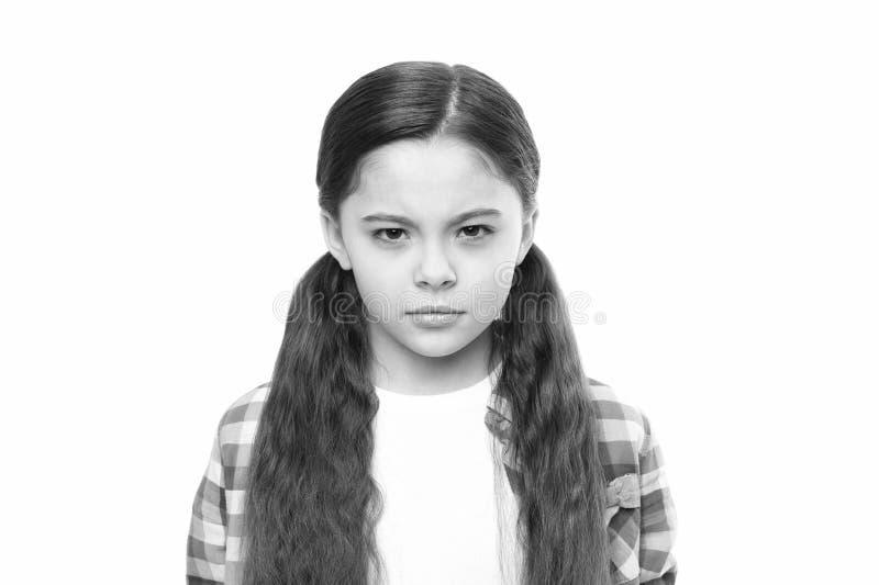 Dzieciak dziewczyny podejrzany ty Brutalna zemsta Nieszcz??liwego dziecka nienawistny spojrzenie Someone zas?uguje kary zemst? ut obrazy royalty free