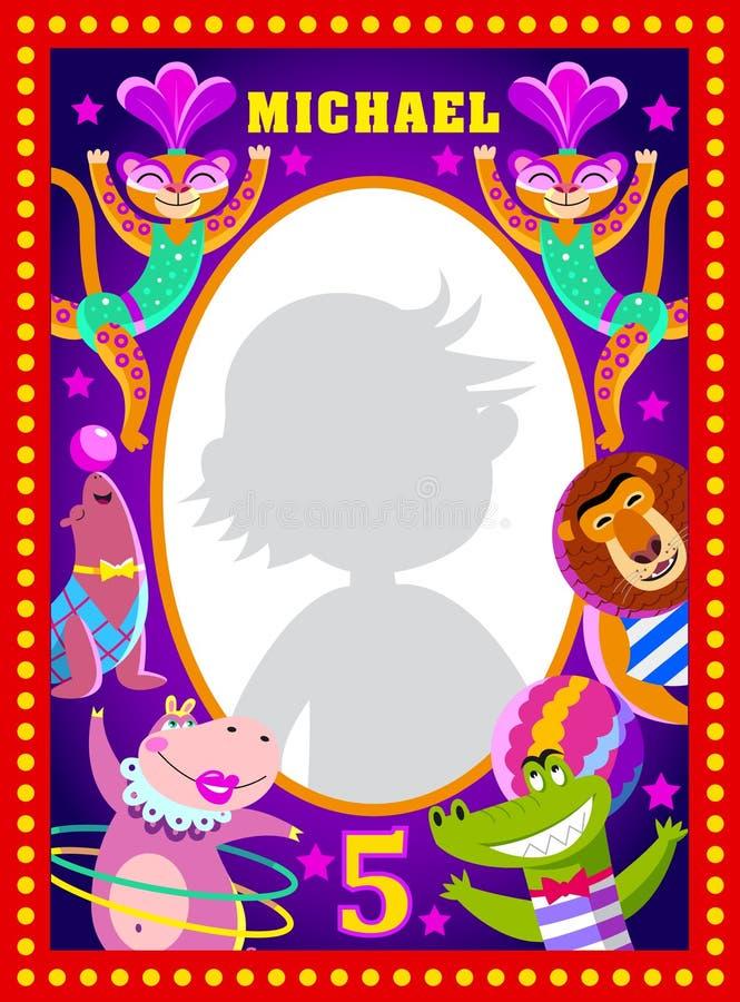 Dzieciak fotografii rama z kreskówka cyrka artystami ilustracji