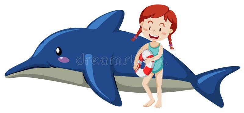 Dzieciak i nadmuchiwany delfin na białym tle ilustracja wektor