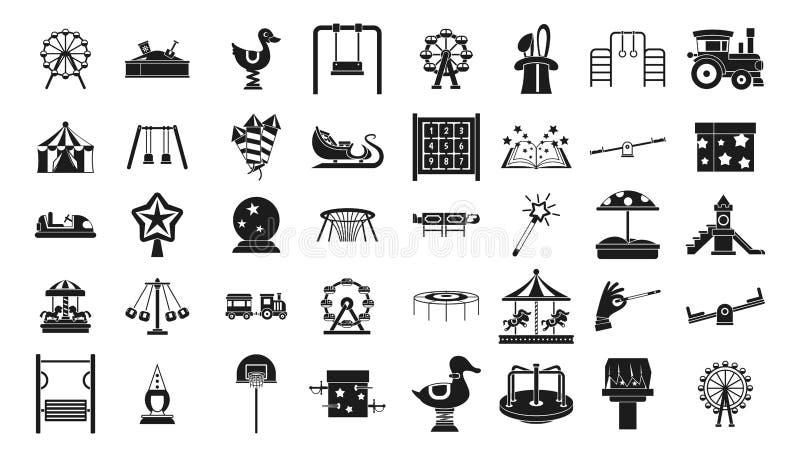 Dzieciak ikony rozrywkowy set, prosty styl ilustracja wektor