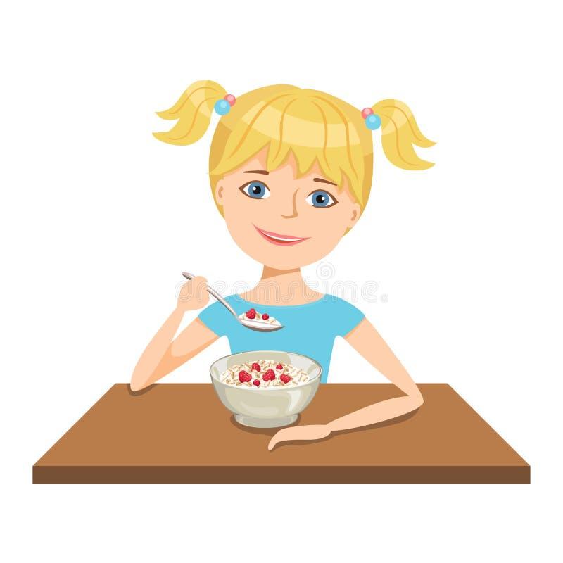Dzieciak je oatmeal Śliczna uśmiechnięta dziewczyna je zdrowego śniadanie w ranku royalty ilustracja