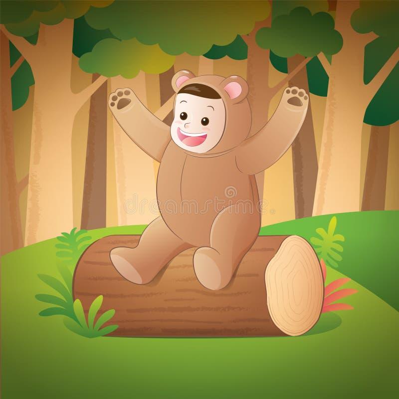 Dzieciak jest ubranym niedźwiadkowego kostium ilustracji