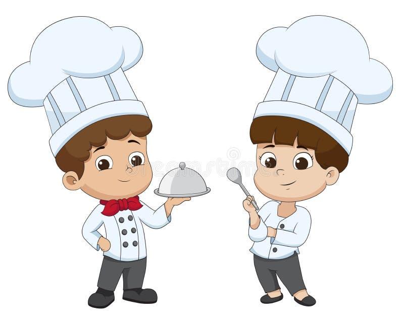 Dzieciak kreskówki szef kuchni przygotowywa jedzenie ilustracji