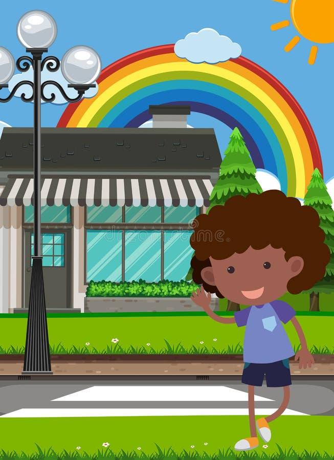 Dzieciak Krzyżuje Crosswalk ilustracja wektor