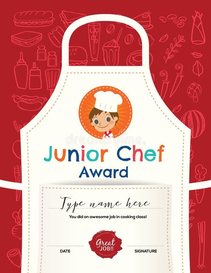 Dzieciak Kulinarnej klasy świadectwa projekta szablon ilustracja wektor