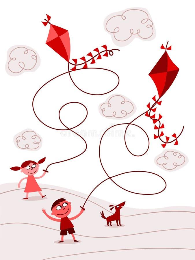 dzieciak latające kanie ilustracji