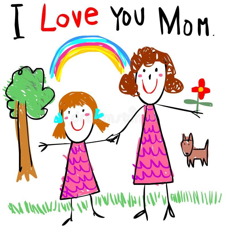 Dzieciak miłości mamy rysunku obrazka ilustracja ilustracja wektor
