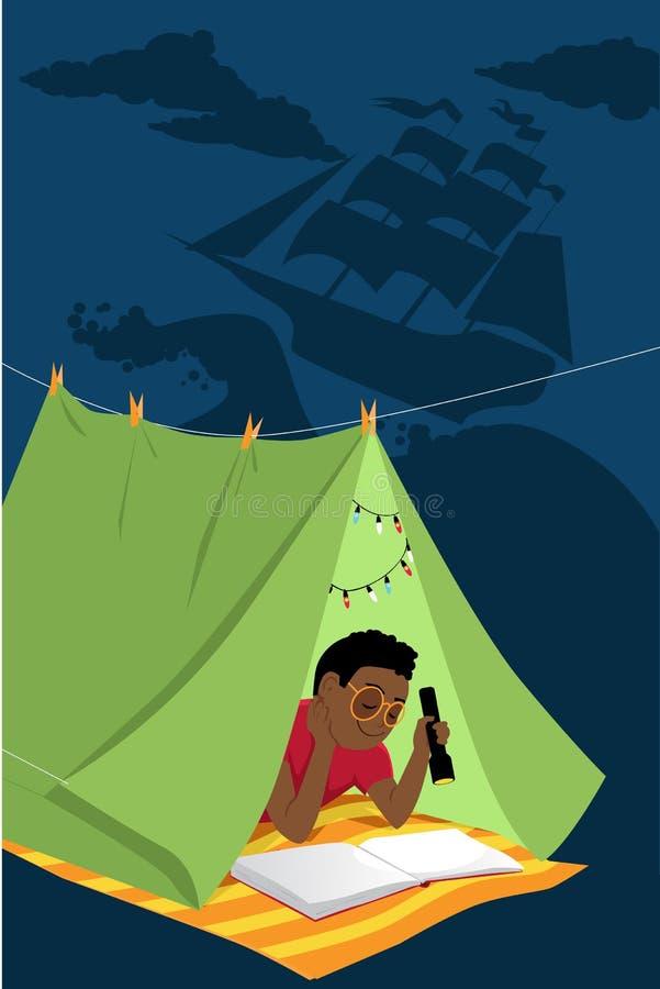Dzieciak przygody czytelnicza opowieść przy nocą royalty ilustracja