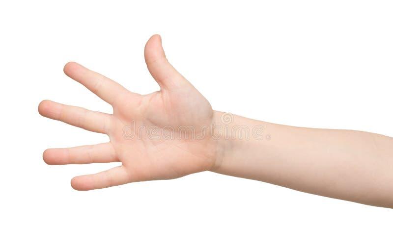 Dzieciak ręki przedstawienia liczą pięć na białym tle obraz stock