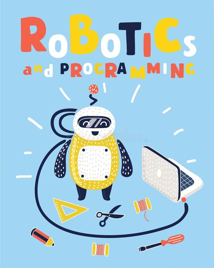 Dzieciak robi jego swój robotowi Zaawansowany technicznie narzędzia inżynieria i elektroniki edukacja ilustracji