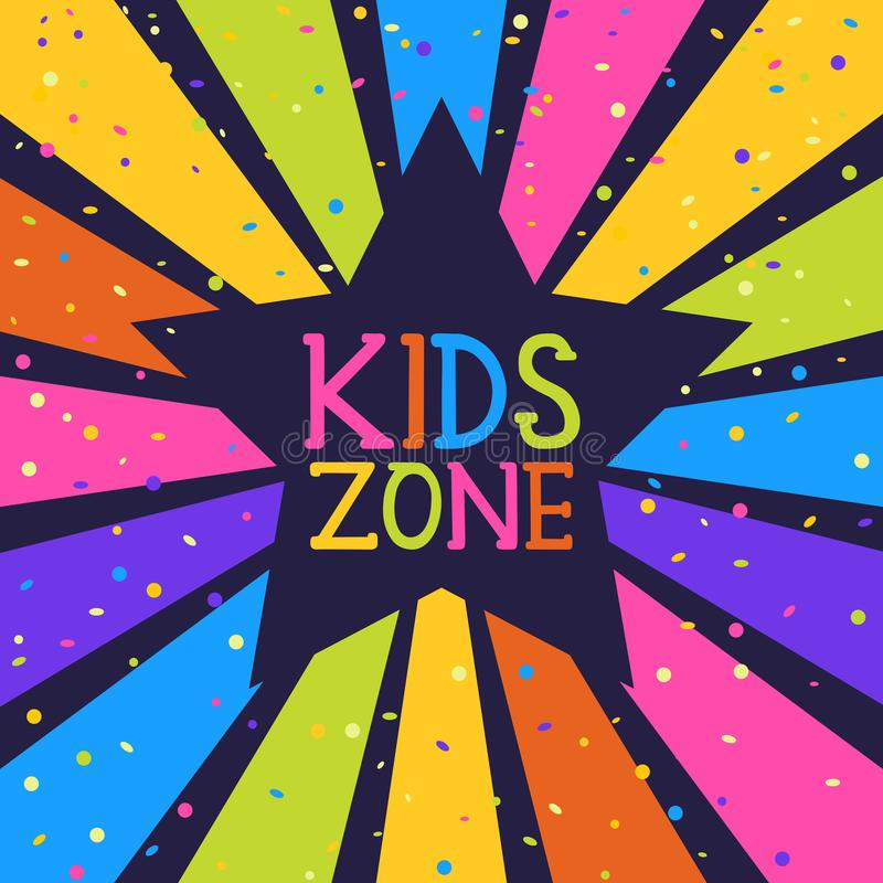 Dzieciak strefy sztandar Projektuje szablon z gwiazdą i confetti na kolorowym promienia tle ilustracji