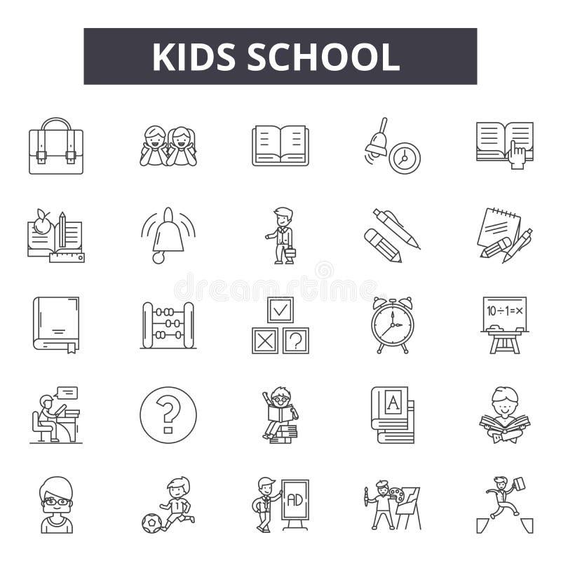 Dzieciak szkoły linii ikony, znaki, wektoru set, kontur ilustracji pojęcie ilustracji